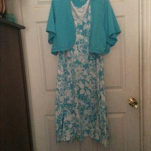 DENIM & CO. Summer Dress and Bolero Jacket